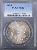 1887 S MORGAN DOLLAR PCGS MINT STATE 63