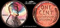 1955 LINCOLN WHEAT CENT PENNY BU MS MONSTER NEON COLOR TONED 4044