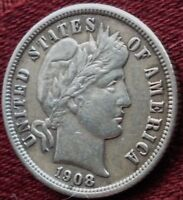 1908   BARBER DIME   AU  OR MINT STATE   TONING