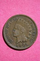1904 INDIAN HEAD CENT PENNY NICE DETAILS FLAT RATE SHIPPING COIN 0054
