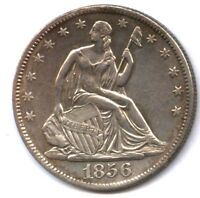1856 O SEATED HALF  AU DETAIL  CLEANED & ETC.  NICE LOOKING
