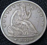 1874 SEATED LIBERTY HALF DOLLAR EF DETAILS 13073
