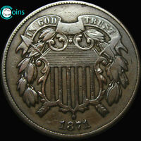 1871 SHIELD TWO CENT PIECE 2CP SEMI KEY LOW MINTAGE  A623