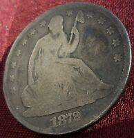 1872   SEATED LIBERTY HALF DOLLAR   VARIETY 4    GOOD    TONING