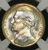 1942 S JEFFERSON NICKEL NGC MS65 LUSTER RAINBOW TONED COLORFUL TONING 1L