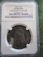 1826 BUST SILVER HALF DOLLAR CERTIFIED NGC AU DETAIL CLEANED OVERTON COLOR TONED