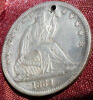 1864 S   SEATED LIBERTY HALF DOLLAR   MINT STATE    TONING