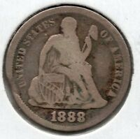 NICE EARLY YEAR 1888 SEATED DIME  BUY IT NOW