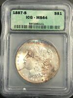 1887-S MORGAN SILVER DOLLAR ICG MINT STATE 64