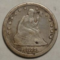 1877 CC SEATED LIBERTY QUARTER POPULAR CARSON CITY MINT TYPE COIN  0706 02