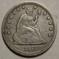 1877 CC SEATED LIBERTY QUARTER POPULAR CARSON CITY MINT TYPE COIN  0706 01
