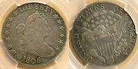 1806 POINTED 6, NO STEM DRAPED BUST SILVER HALF DOLLAR PCGS EXTRA FINE 40, EXC BOTH SIDES