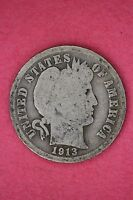 1913 P BARBER DIME LOW GRADE/PROBLEM EXACT COIN PICTURED FLAT RATE SHIPPING 088