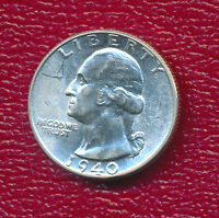 1940 WASHINGTON SILVER QUARTER STUNNING UNCIRCULATED QUARTER
