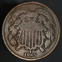 1865 USA 2 TWO CENT COIN  & ORIGINAL SHARP DATE SHIPS FREE 7920
