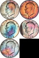 1971 1976 EISENHOWER DOLLAR BU MS 5 COIN RUN MULTI COLOR TONED 10825