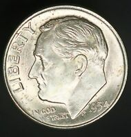 1954 D ROOSEVELT DIME 10C A BEAUTIFUL EXAMPLE UNC GC362