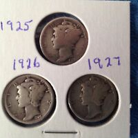 US DIMES MERCURY 1925 1926 1927