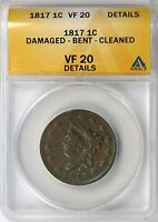 1817 LARGE CENT 1C ANACS VF20 DETAILS 13 STARS