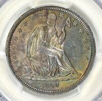 1840   LIBERTY  SEATED  HALF   PCGS AU 55   REV OF 1839  COLOR  $868.88