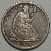 1862 S SEATED LIBERTY HALF DOLLAR CHOICE LY FINE   0823 15