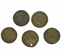 NETHERLANDS COLLECTION OF 5 DUIT COINS NEDERLAND 1768 1790