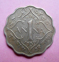 BRITISH INDIA 1939 GEORGE VI KING EMPEROR ONE ANNA NICKLE COIN K96