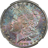 1879-S NGC MINT STATE 62 MONSTER RAINBOW TONED MORGAN DOLLAR $1 - PQ COLOR