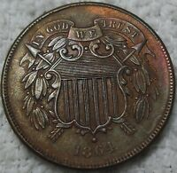 1864 2C LARGE MOTTO  THIS IS A MINT STATE COIN THAT SOMEONE DREW GRAFFITI ON