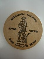 VINTAGE WOODEN NICKEL THE MINUTE MAN 1776 1976 23RD SEMI ANNUAL COIN CLUB