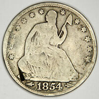 1854 SEATED HALF DOLLAR   BOLD VG   DING AT LOWER LEFT   PRICED RIGHT