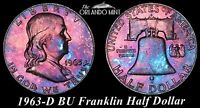1963 D FRANKLIN SILVER HALF DOLLAR BU MS BLUE & PURPLE COLOR TONED GEM 12509