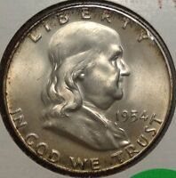 1954 D FRANKLIN HALF DOLLAR GEM UNCIRCULATED GEM BU FULL BELL LINES FBL