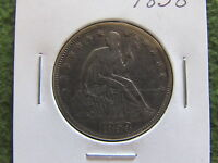 1858 SEATED LIBERTY SILVER HALF DOLLAR RAW 50 CENTS EAGLE BETTER GRADE US 50C