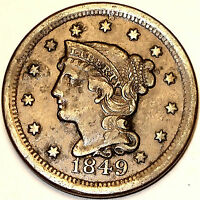 1849 LARGE CENT FULL LIBERTY 13 STARS MATURE MATRON HEAD.