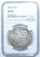 1887-S MORGAN DOLLAR - NGC - AU 58 - NEW STYLE HOLDER