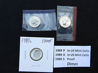 1989 DIME 3 COIN SET  S PROOF P & D IN US MINT CELLO