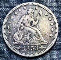 1853 O ARROWS & RAYS SEATED LIBERTY QUARTER VF/XF
