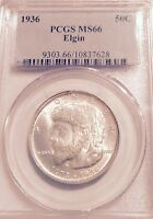 1936-P  ELGIN PCGS MINT STATE 66  COMMEMORATIVE HALF DOLLAR