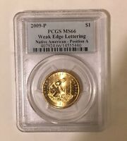 2009 P POS. A WEAK EDGE LETTERING PCGS MS66 NATIVE SACAGAWEA $
