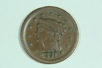 1851 CORONET LARGE CENT BRAIDED HAIR GOOD SMOOTH CHOCOLATE BROWN
