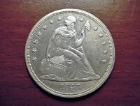 1843 SEATED DOLLAR REPUNCHED DATE   BREEN 5429 AU   FULL LIBERTY & SHIELDS