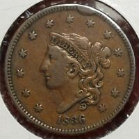 1836 CORONET LARGE CENT N 6 NICE FINE COIN     0222 14