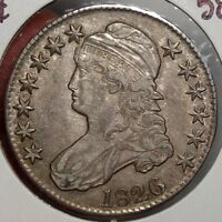 1826 BUST HALF DOLLAR CHOICE ALMOST UNCIRCULATED ORIGINAL EARLY TYPE  0321 22