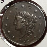 1836 CORONET LARGE CENT N 3 ALMOST UNCIRCULATED NICE AND ORIGINAL   0222 13