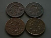 FOUR 4 EARLY MATRON HEAD LARGE CENTS 1833 1836 1837 & 1839