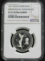 EL SALVADOR 1971 INDEPENDENCE 150TH ANNIVERSARY 5 COLOESN SILVER COIN NGC PF6710