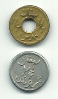 LEBANON LIBAN 2 COINS 1/2   2 1/2 PIASTRES WW2 EMERGENCY ISSUE ND