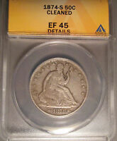 1874 S SILVER LIBERTY SEATED HALF DOLLAR 50C ARROWS ANACS XF 45 DETAILS