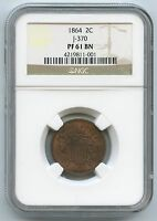 1864 J-370 PATTERN PROOF TWO CENT PIECE NGC PF 61 BN